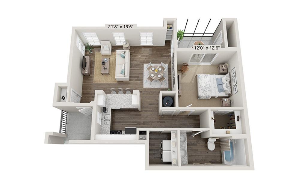 Banyan 1 Bedroom 1 Bath Floorplan