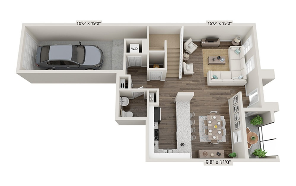 Cocoplum 2 Bedroom 2.5 Bath Floorplan