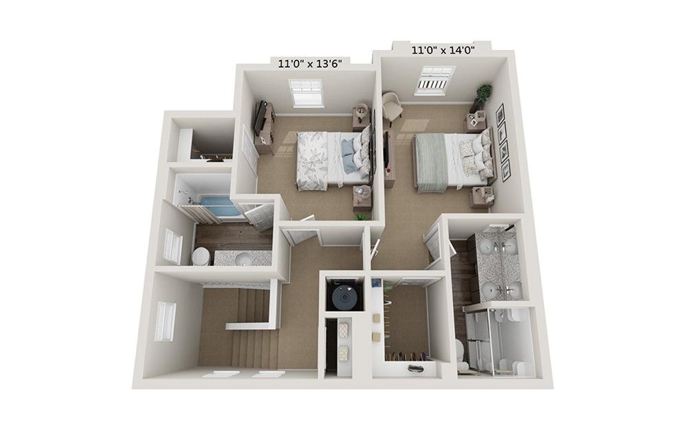 Garden 2 Bedroom 2.5 Bath Floorplan