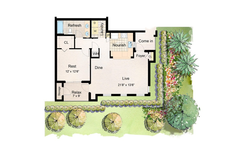 Banyan - 1 bedroom floorplan layout with 1 bath and 888 square feet.